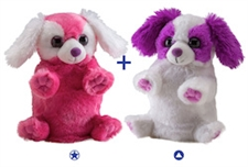 Wild Republic 8 inch stuffed animal Switch-A-Rooz Reversible Plush Pink Puppy and White Puppy