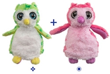 "Wild Republic 8"" Switch-A-Rooz Reversible Plush Green Owl and Pink Owl"