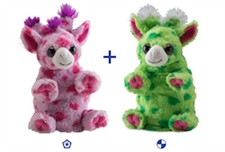 "Wild Republic 8"" Switch-A-Rooz Reversible Plush Pink Giraffe and Green Giraffe"