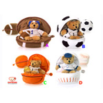 """Plushland Bear In Football, Soccer Ball, Basket Ball & Baseball 8"""""""