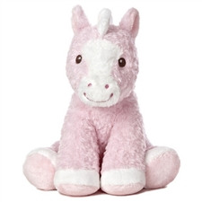 White & Pink Plush Horse for Girls