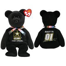 """Ty Beanie Babies Nascar 8"""" Mark Martin #01 Bear"""