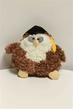 "Beverly Hills Teddy Bear 8"" Graduation Owls-BLACK"