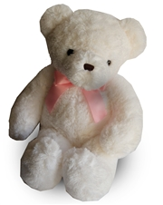"20"" White Belvedere Bear with Pink Bow"