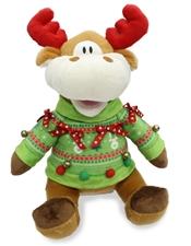 "12"" Cuddle Barn Ugly Xmas Sweater sings ""Ugly Sweater Song"""