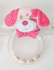 Douglas Pink Dog Rattle 5 x 3 in. (Discontinued)