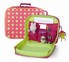 "13"" Kids Preferred Polka Dot Tray Kit--Includes 5 storage pockets, mirror and coordinating strap for hanging(D)"