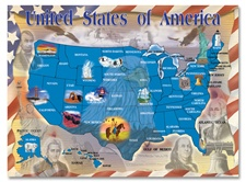Melissa & Doug 500 pc Map of the U.S.A. Cardboard Jigsaw