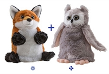 "Wild Republic 8"" Switch-A-Rooz Reversible Plush Fox and Owl"