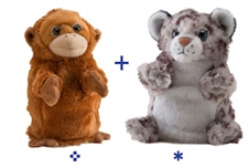 "Wild Republic 8"" Switch-A-Rooz Reversible Plush Orangutan and Snow Leopard"