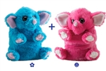 "Wild Republic 8"" Switch-A-Rooz Reversible Plush Blue Elephant and Pink Elephant"