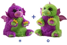 "Wild Republic 8"" Switch-A-Rooz Reversible Plush Green Dragon and Purple Dragon"