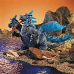 Folkmanis Dragon Puppet, Three-Headed - Blue