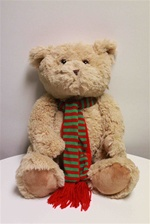"Beverly Hills Teddy Bear 18"" Christmas Bear With Red & Green Scarf"