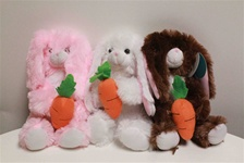 "Beverly Hills Teddy Bear 8"" Easter Bunny W/ Carrots-Pink"