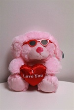 "Beverly Hills Teddy Bear 10"" I Love You Valentine Dog W/Sunglasses-PINK"