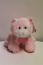 "Beverly Hills Teddy Bear 10"" Pink & Blue Kitty Cat-PINK"