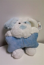 "Beverly Hills Teddy Bear 12"" Lying Dogs W/Rattle-BLUE"