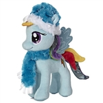 "Aurora 10"" Rainbow Dash With Fuzzy Hat & Scarf Pony"
