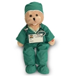 "19"" Green Scrubs Bear - sings ""I'll Be There"""