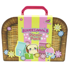 Picnic Pack includes 5 squishy, slow-rise foam plush characters in fun shapes and sizes.