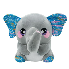 Cuddle up to Emma! This adorable elephant loves blowing bubbles with her trunk and painting pretty pictures for her best friends!